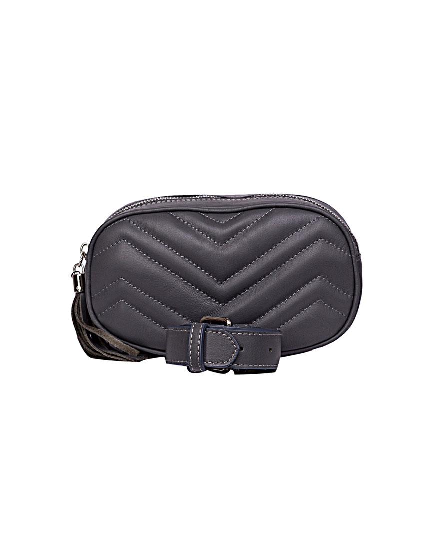 Кожаная сумка на пояс Dark Grey