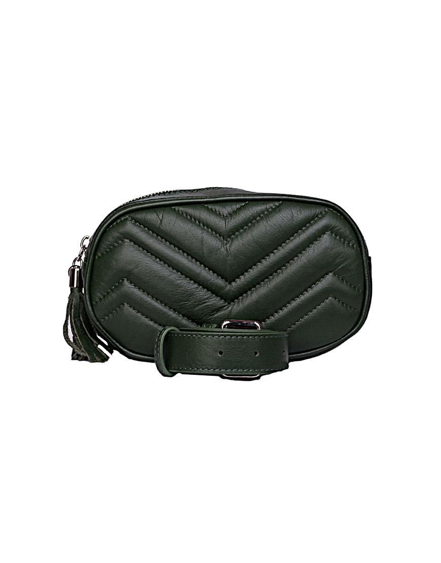 Кожаная сумка на пояс Dark Green