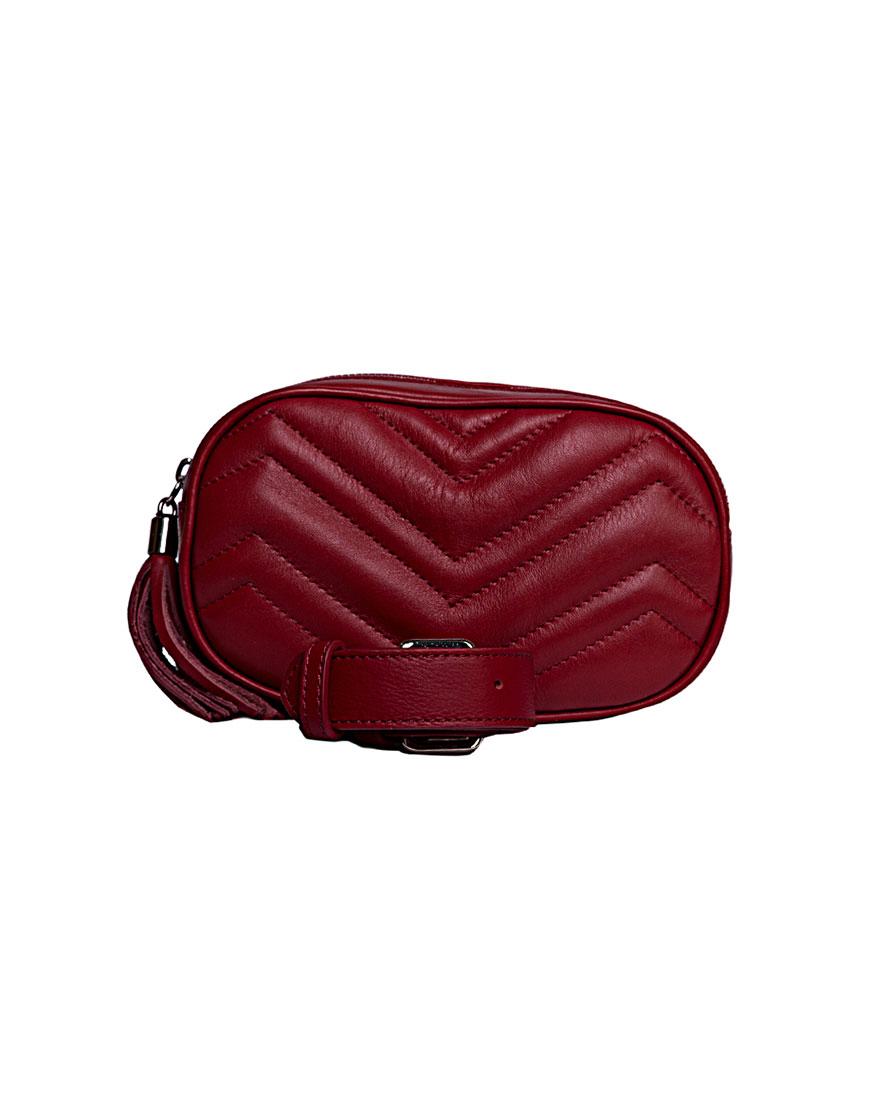 Кожаная сумка на пояс Dark Red