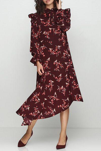 Платье в принт с угловым шлейфом AY_2379, фото 3 - в интеренет магазине KAPSULA
