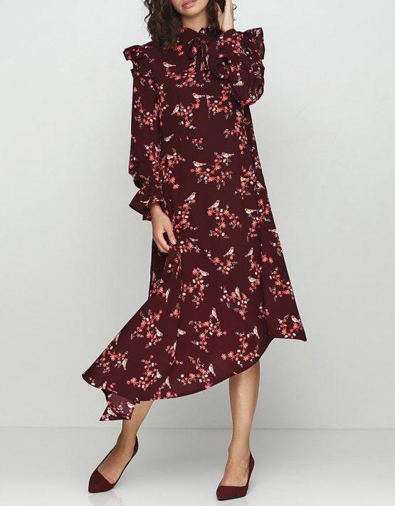 Платье в принт с угловым шлейфом AY_2379, фото 1 - в интеренет магазине KAPSULA