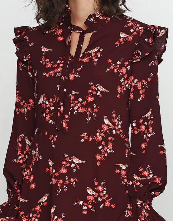 Платье в принт с угловым шлейфом AY_2379, фото 2 - в интеренет магазине KAPSULA