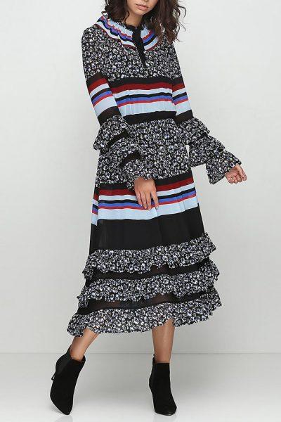 Платье с рюшами и трикотажем AY_2383, фото 6 - в интеренет магазине KAPSULA