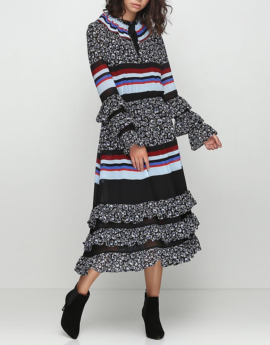 Платье с рюшами и трикотажем