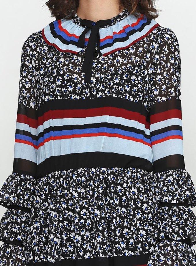 Платье с рюшами и трикотажем AY_2383, фото 1 - в интеренет магазине KAPSULA
