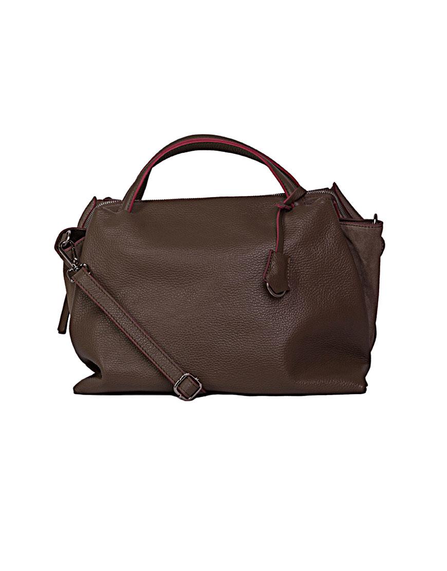 Большая сумка из зернистой кожи Beige