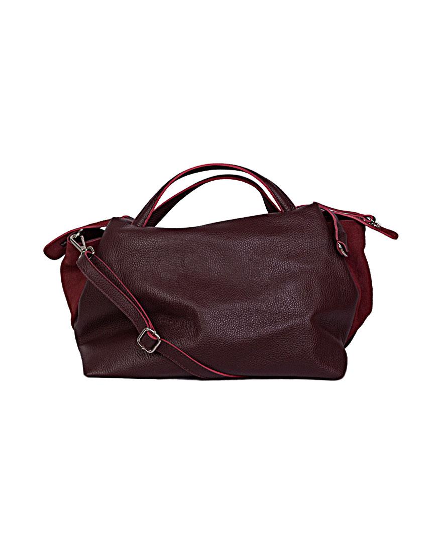 Большая сумка из зернистой кожи Burgundy