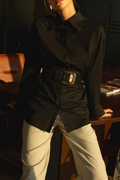 Рубашка с кожаными манжетами IRRO_IR_PF_SH_012, фото 1 - в интеренет магазине KAPSULA