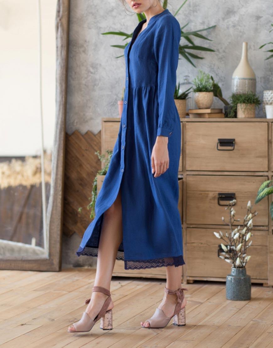 Купить Длинное льняное платье с кружевом