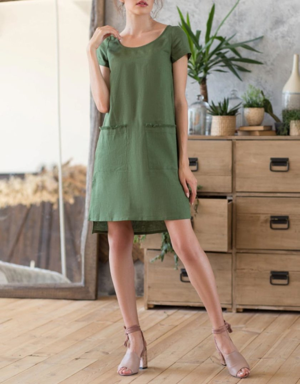 Льняное платье с разрезами по бокам MRND_М27-3, фото 1 - в интернет магазине KAPSULA