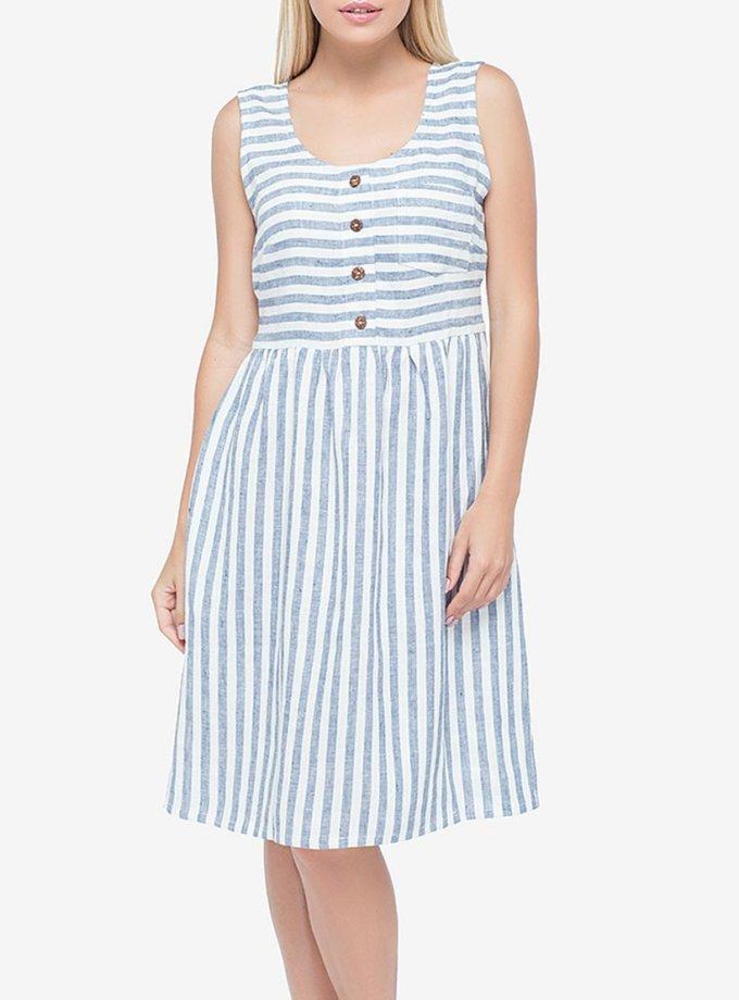 Льняное платье в полоску MRND_М28, фото 1 - в интернет магазине KAPSULA