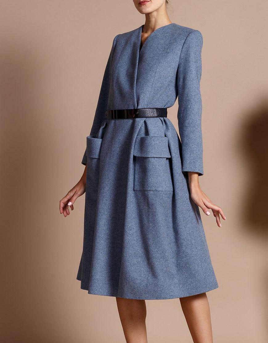 Купить Пальто из шерсти на запахе с ремнем