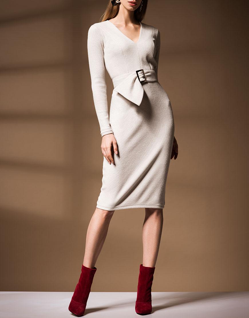 Купить Трикотажное платье со съемным поясом