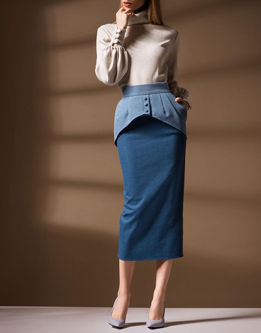 Джинсовая юбка с баской