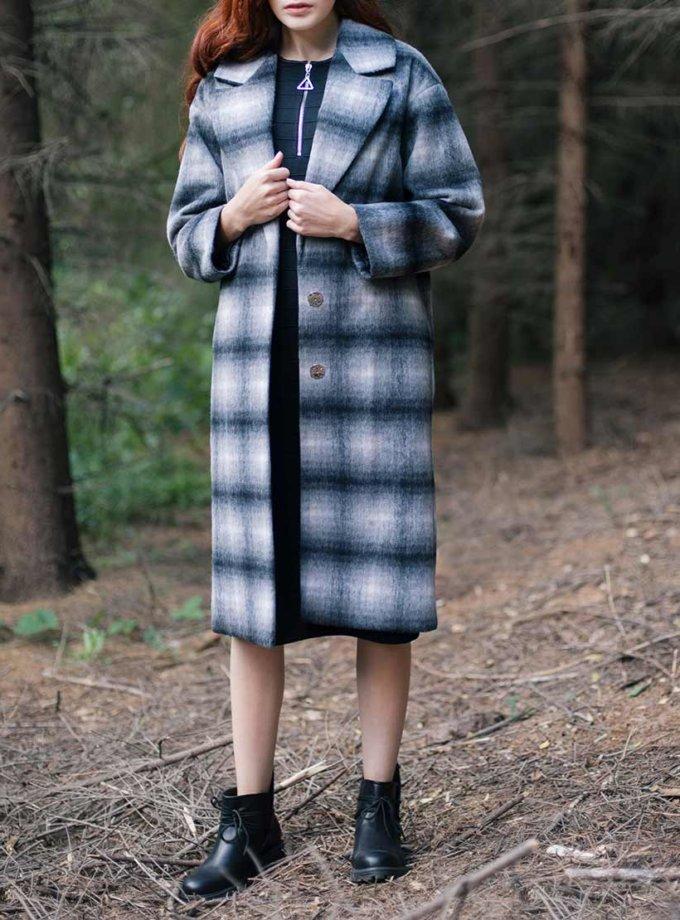 Утепленное пальто из шерсти в клетку CYAN_СT_K01, фото 1 - в интернет магазине KAPSULA
