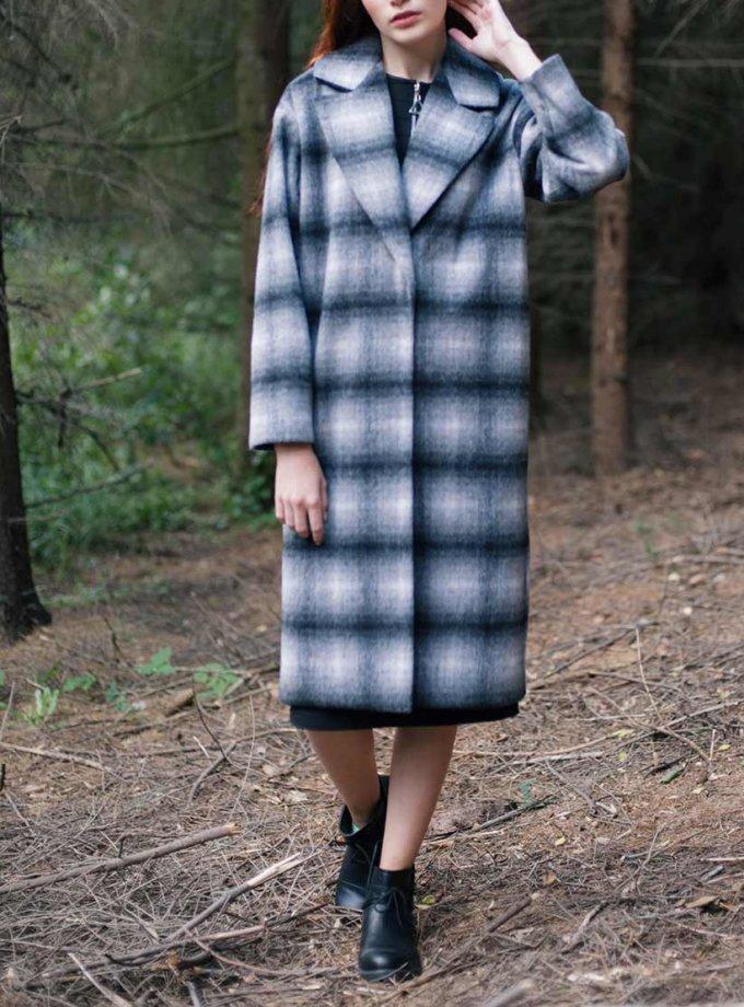 Утепленное пальто из шерсти в клетку CYAN_СT_K01, фото 1 - в интеренет магазине KAPSULA