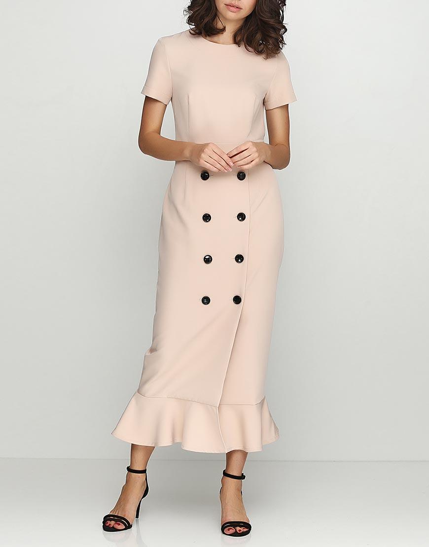 Платье-футляр с юбкой на запахе