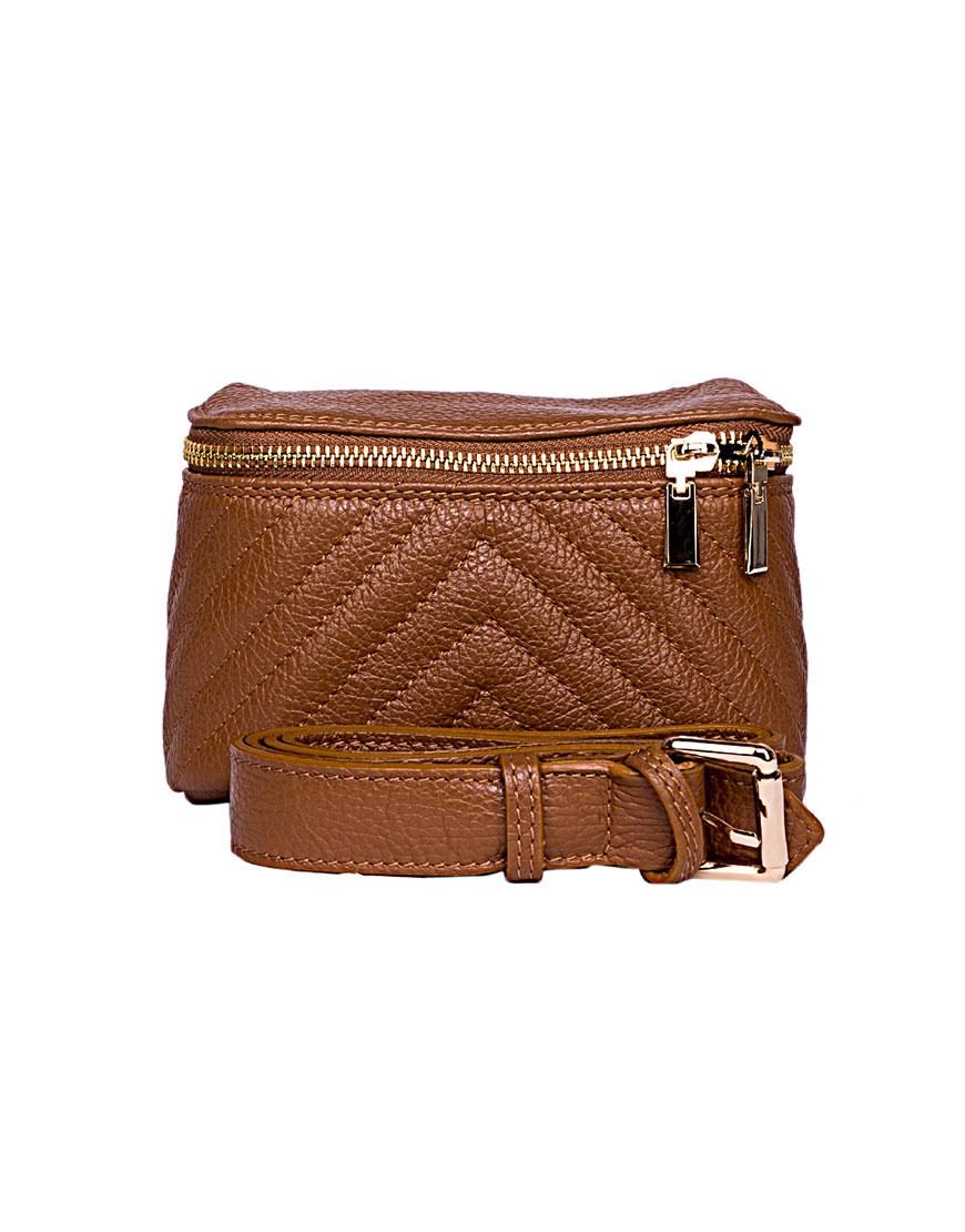 Поясная сумка из зернистой кожи Camel