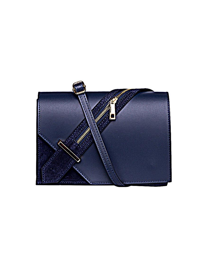 Кожаная сумка на плечо Blue