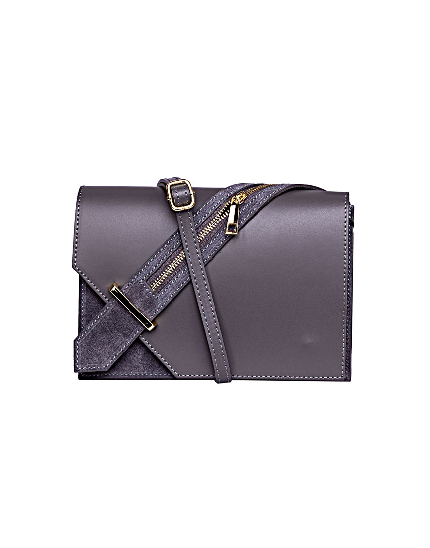 Кожаная сумка на плечо Grey