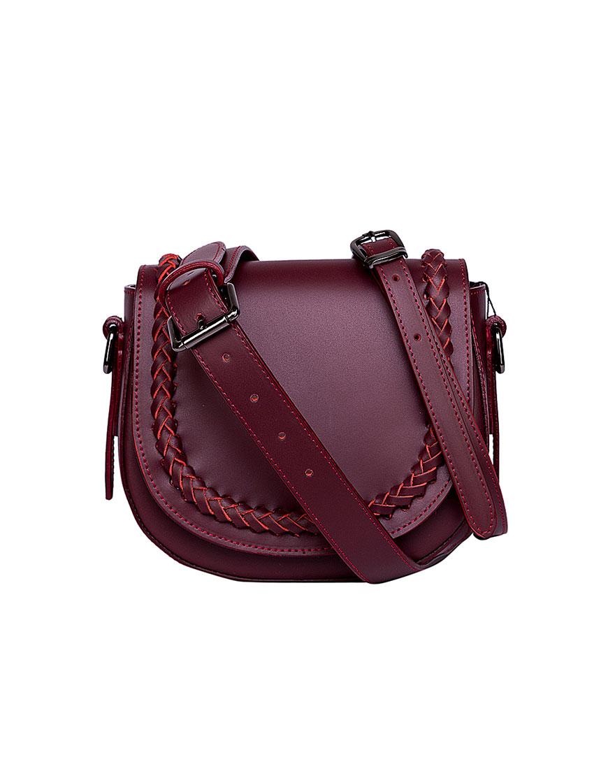 Кожаная сумка на пояс и плечо Burgundy