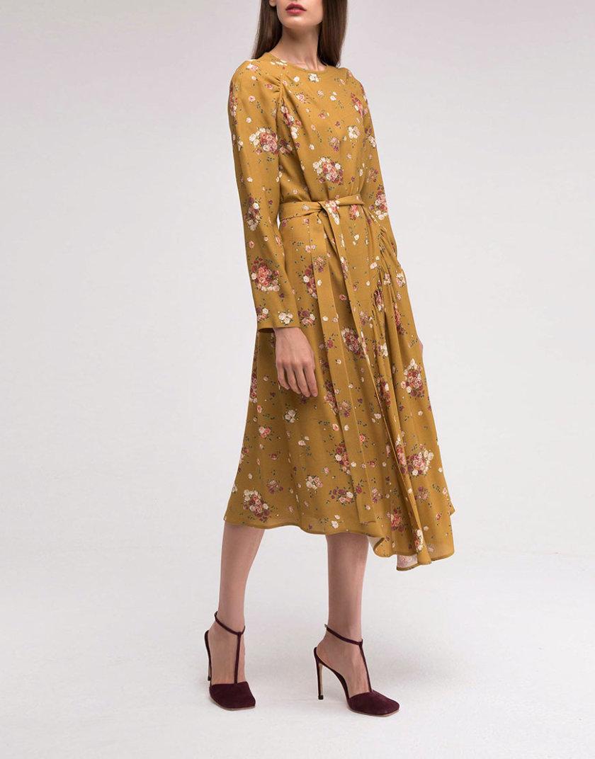 Платье с асимметричной юбкой горчичное SHKO_18038003_outlet, фото 1 - в интернет магазине KAPSULA