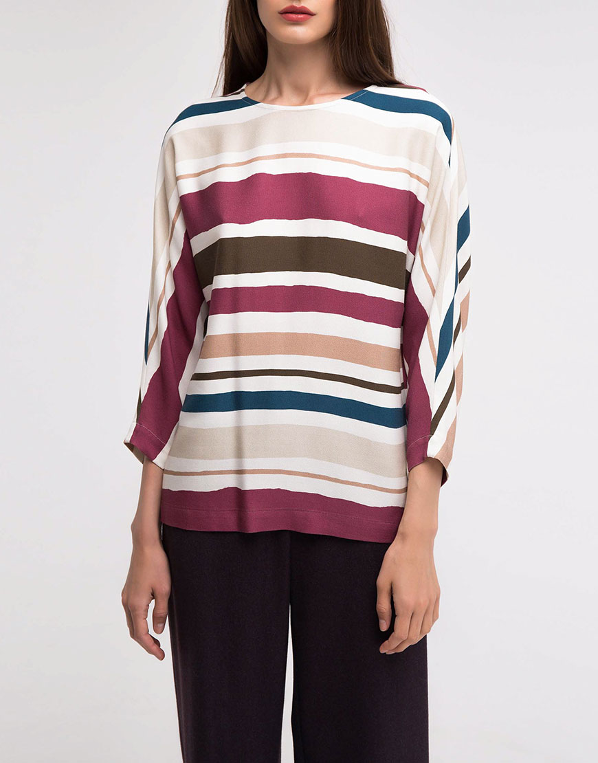 Блуза с рукавом реглан в принт