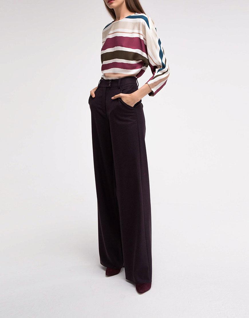 Купить Широкие шерстяные брюки темно-сливового цвета