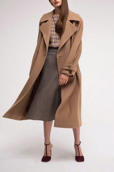 Пальто двубортное из шерсти SHKO_18049003, фото 2 - в интеренет магазине KAPSULA