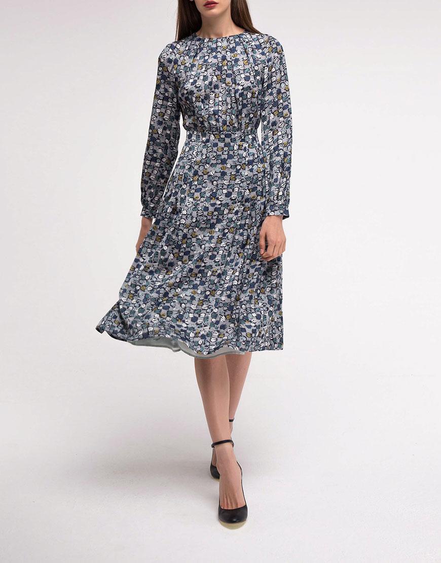 Платье со вшитым поясом А силуэта