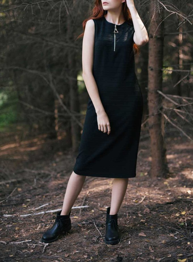 Трикотажное платье прямого кроя CYAN_DS_K01, фото 1 - в интеренет магазине KAPSULA