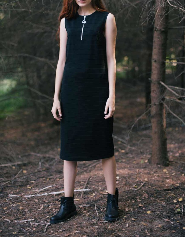 Трикотажное платье прямого кроя CYAN_DS_K01, фото 1 - в интернет магазине KAPSULA