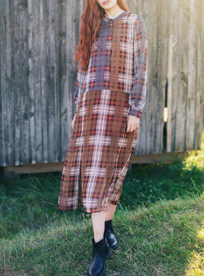 Платье-рубашка с разрезами CYAN_DS_K03, фото 1 - в интернет магазине KAPSULA