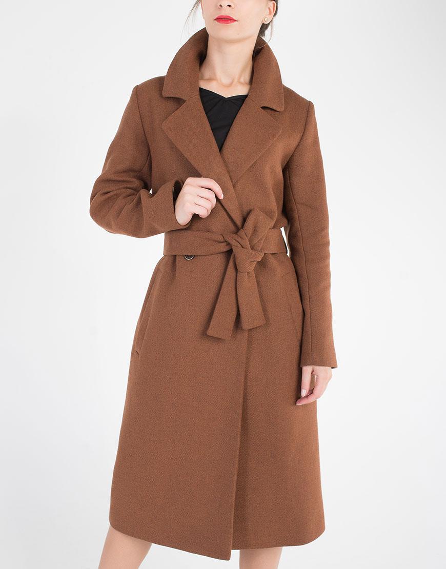 Пальто под пояс из шерсти