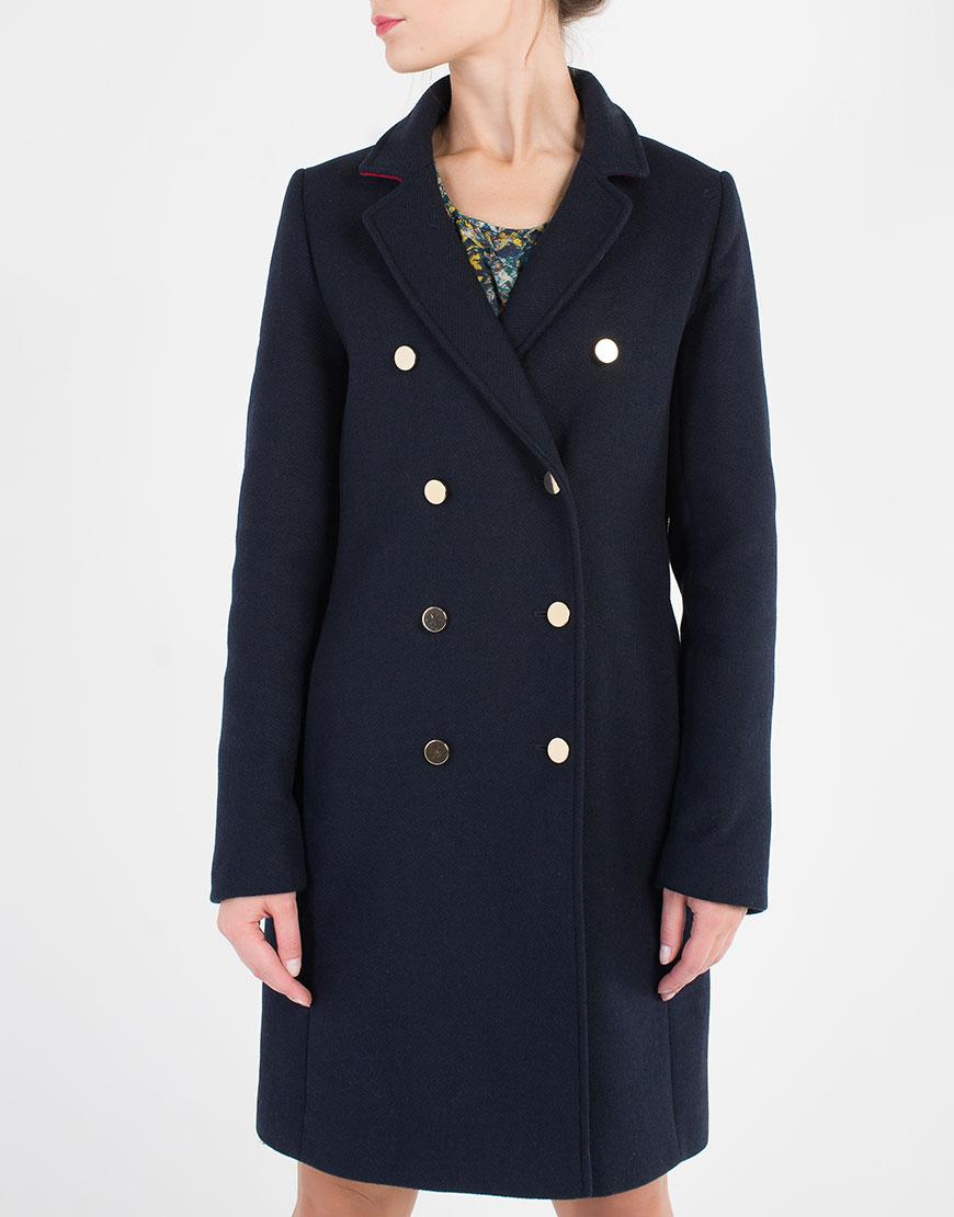 Двубортное пальто прямого кроя