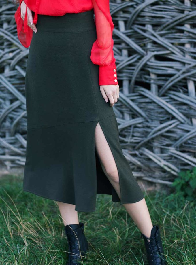 Юбка миди с разрезом CYAN_ST_K01, фото 1 - в интернет магазине KAPSULA