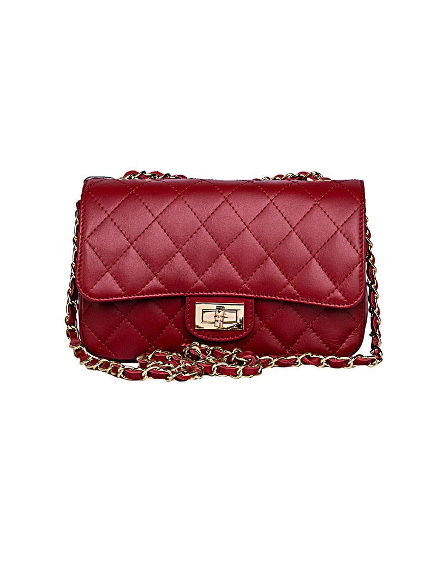 Купить Кожаная сумка на цепочке RED