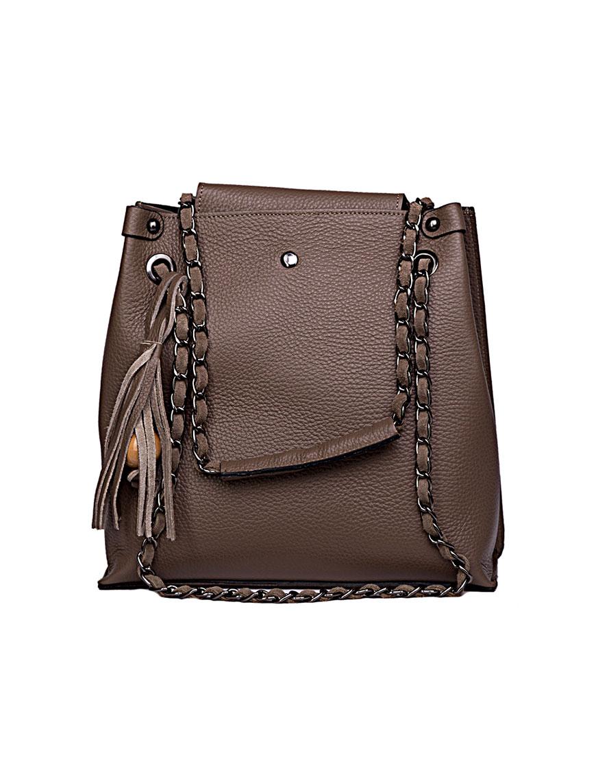 Кожаная сумка с ручками на плечо