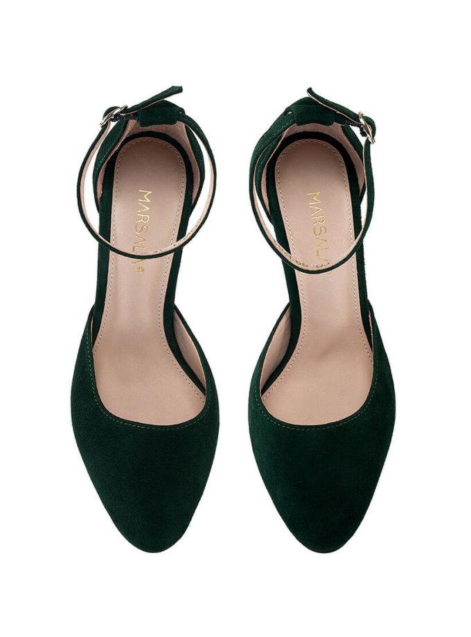 Замшевые туфли Mary Jane Dark Green MRSL_993263, фото 1 - в интернет магазине KAPSULA