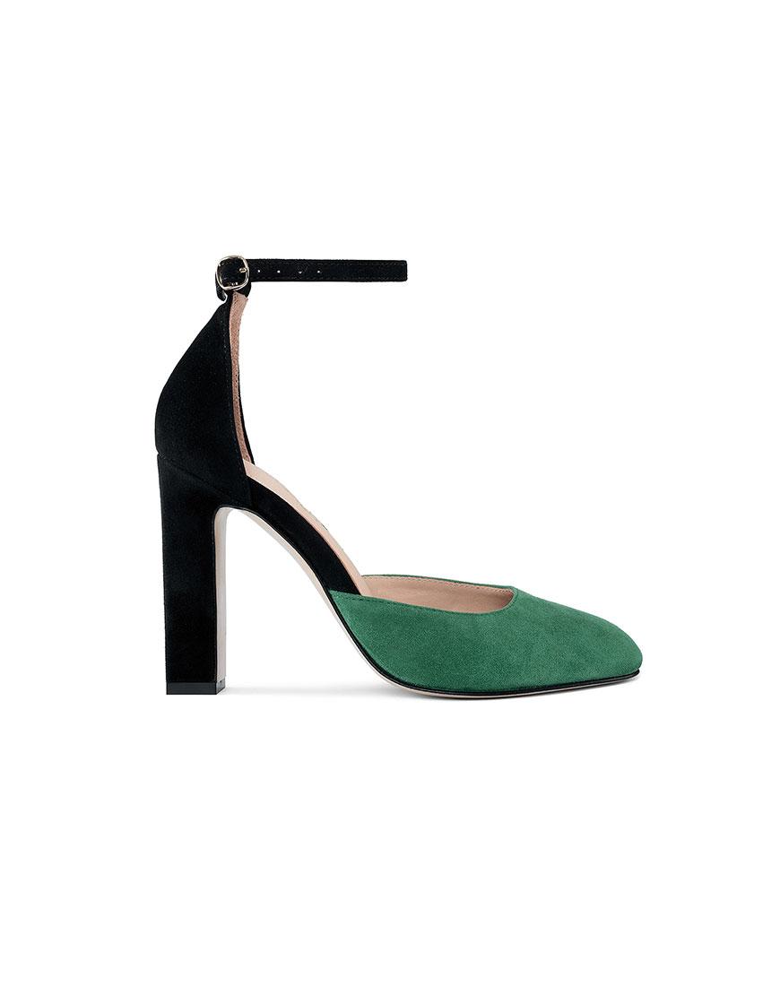 Замшевые туфли Mary Jane Black-Green