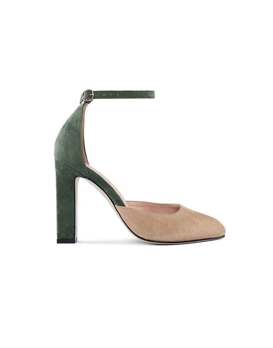 Замшевые туфли Mary Jane Beige-Green