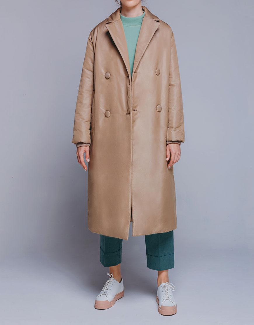 Двубортная куртка-пальто прямого кроя