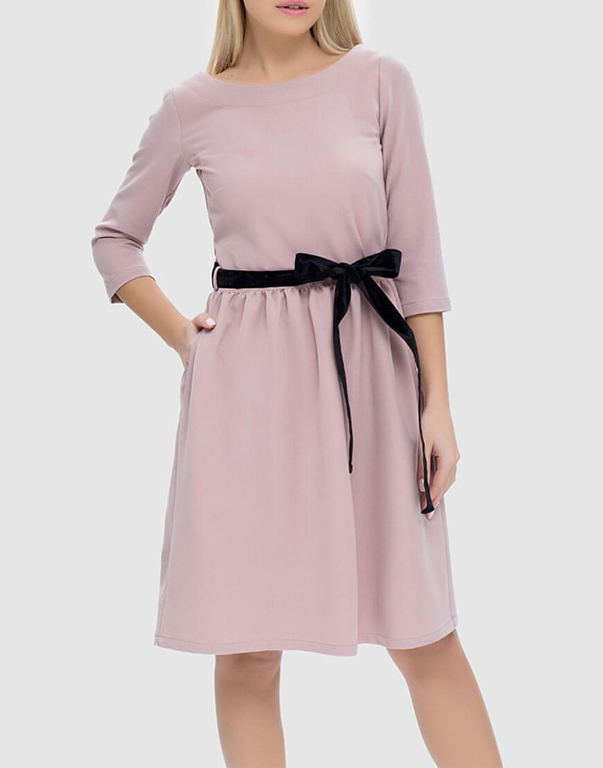 Платье с пуговицами на спинке и съемным поясом