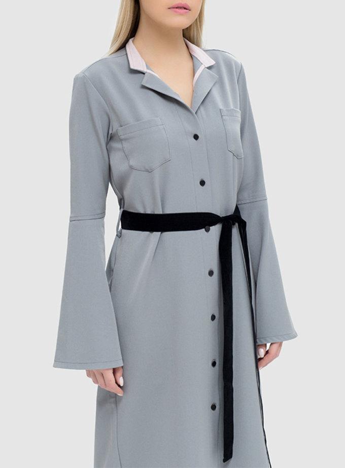 Платье-рубашка с накладными карманами MRND_М41-1, фото 1 - в интернет магазине KAPSULA