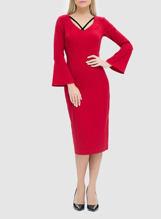 платье-футляр с бархатными вставками MRND_М48-2, фото 1 - в интеренет магазине KAPSULA