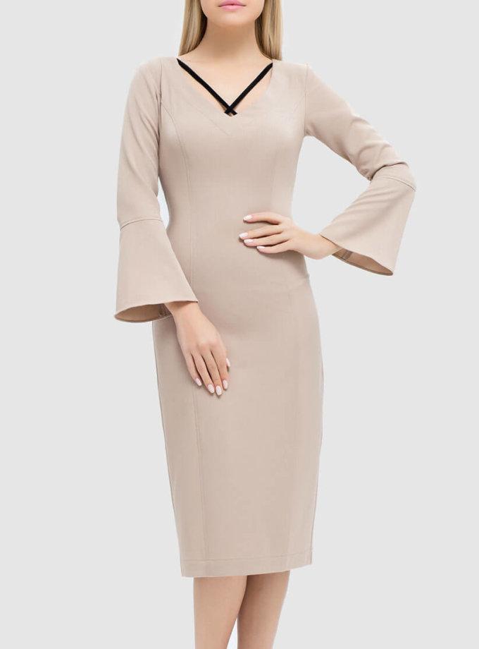 платье-футляр с бархатными вставками MRND_М48-3, фото 1 - в интеренет магазине KAPSULA