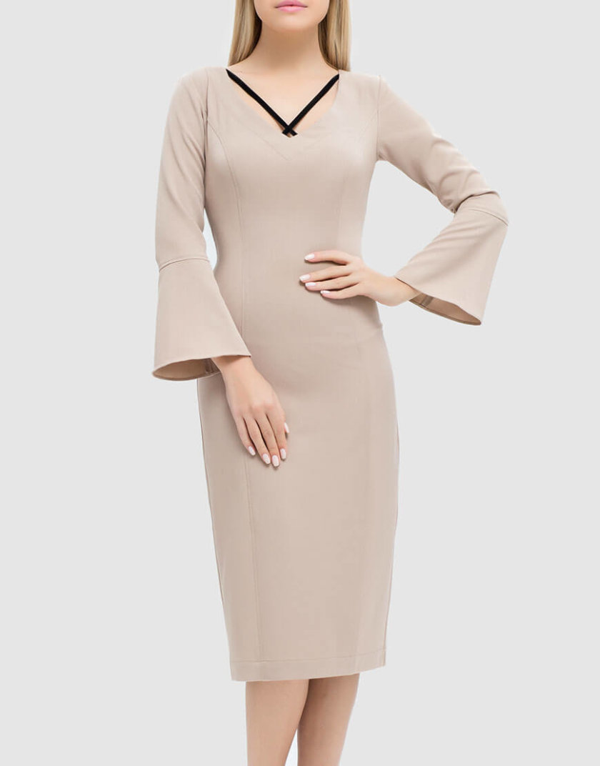 платье-футляр с бархатными вставками MRND_М48-3, фото 1 - в интернет магазине KAPSULA
