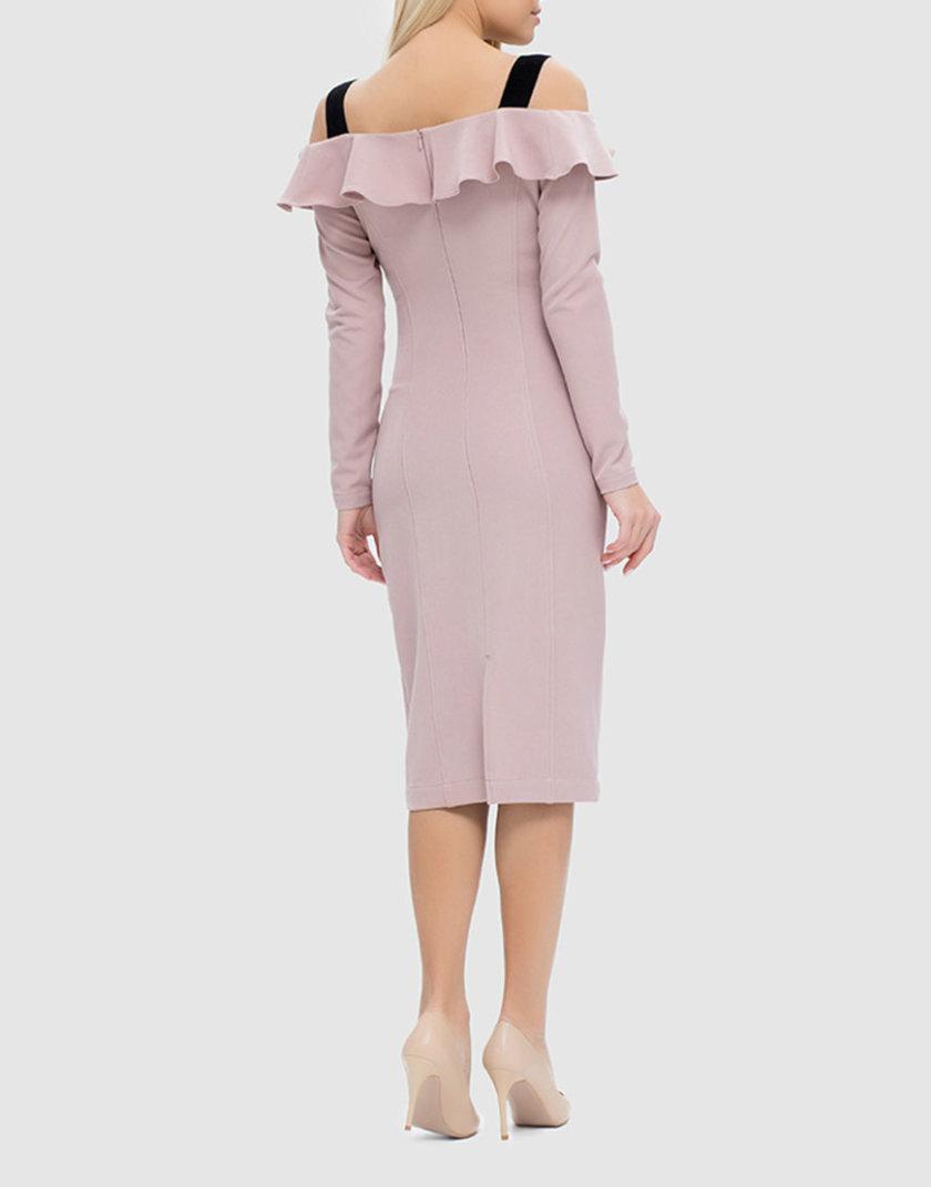 Облегающее платье с открытыми плечами и воланом MRND_М49-1, фото 1 - в интернет магазине KAPSULA