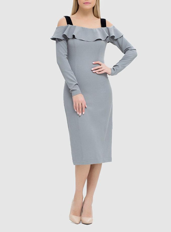 Облегающее платье с открытыми плечами и воланом MRND_М49-4, фото 1 - в интеренет магазине KAPSULA