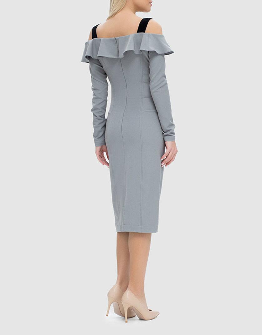 Облегающее платье с открытыми плечами и воланом MRND_М49-4, фото 1 - в интернет магазине KAPSULA